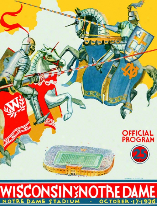 1936 Notre Dame Fighting Irish Vs Wisconsin Badgers 22 X 30 Canvas Historic Football Poster