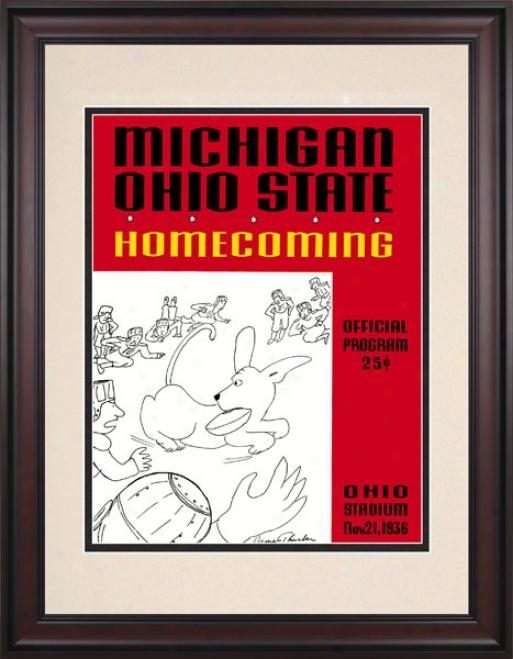 1936 Ohio Pomp Buckeyes Vs. Michigan Wolverines 10.5x14 Framed Historic Football Print