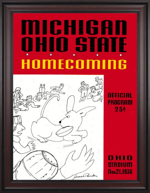 1936 Ohio State Buckeyes Vs. Michigan Wolverines 36 X 48 Framed Canvas Historic Football Calico