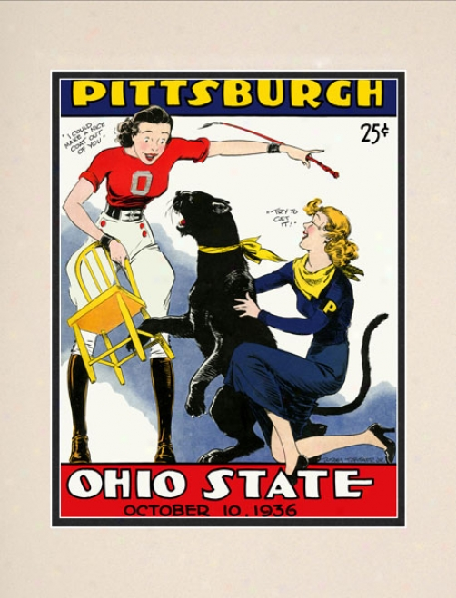 1936 Ohio State Buckeyes Vs. Pittsburgh Panthers 10.5x14 Matted Historic Football Print