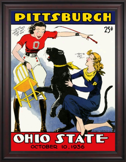 1936 Ohio Express  Buckeyes Vs. Pittsgurgh Panthe5s 36 X 48 Framed Canvas Historic Football Print