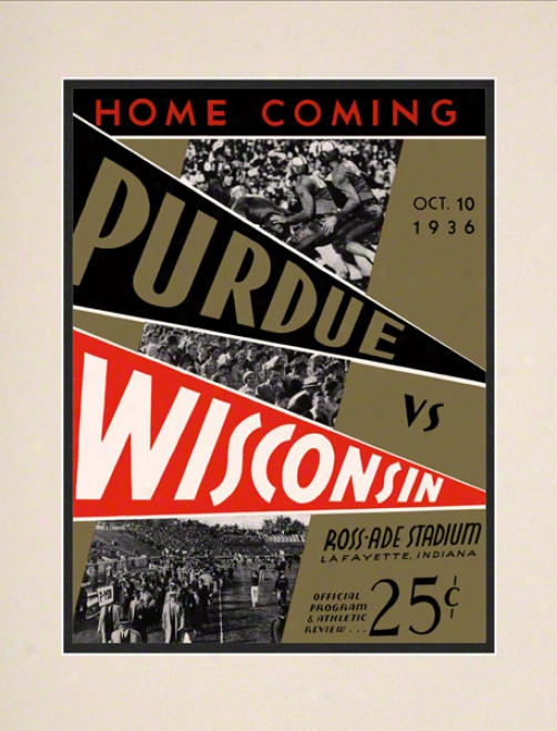 1936 Pyrdue Vs. Wisconsin 10.5x14 Matted Historic Football Print
