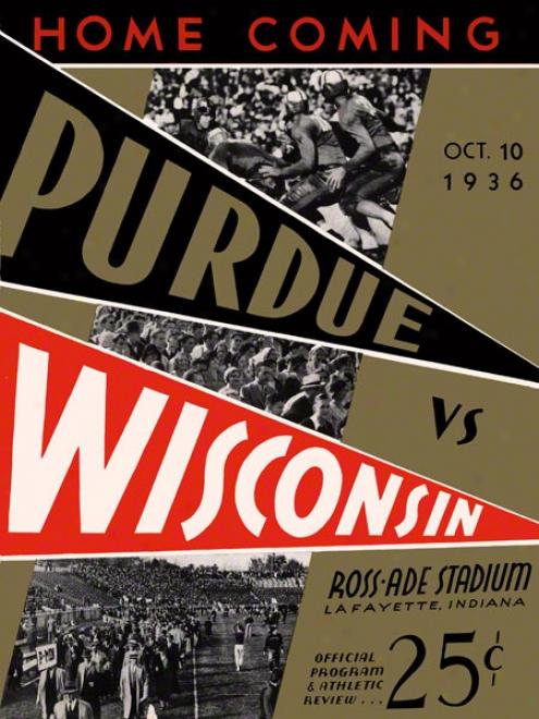 1936 Purdue Vs. Wisconsin 22 X 30 Canvas Historic Football Print