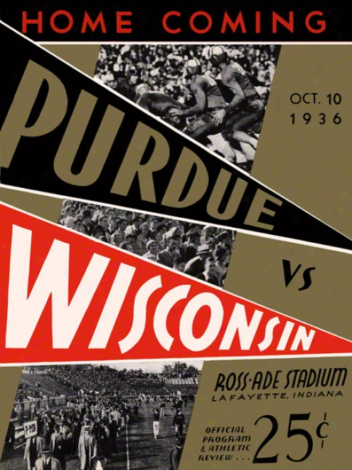 1936 Purdue Vs. Wisconsin 36 X 48 Canvas Historic Football Print