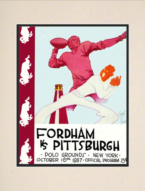 1937 Fordham Vs. Pitt 10.5x14 Matted Historic Football Print