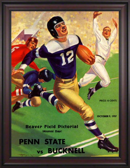 1937 Penn State Nittany Lions Vs Bucknelk Bison 36 X 48 Framed Canvas Historic Football Poster