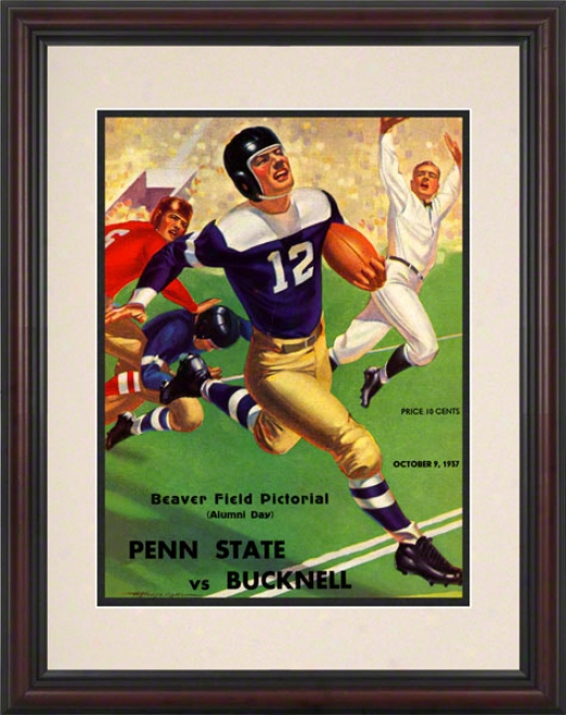 1937 Penn State Nittany Lions Vs Bucknell Bison 8.5 X 11 Framed Historic Football Poster