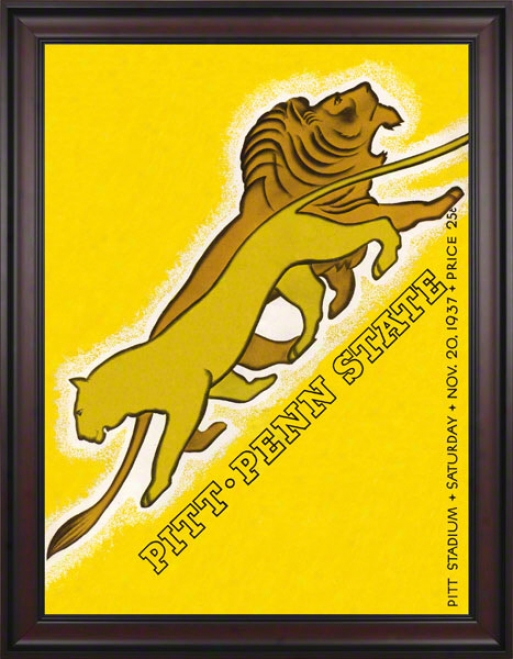 1937 Pittsburgh Panthers Vd Penn tSzte Nittany Lions 36 X 48 Framed Canvas Historic Football Placard