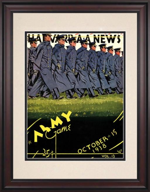 1938 Harvard Crimson Vs. Army Black Knights 10.5x14 Framed Historic Football Print