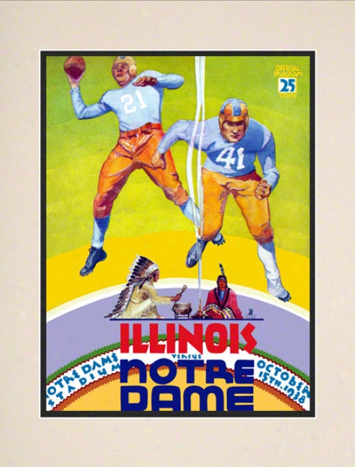 1938 Notre Dame Fighting Irish Vs Illinois Fighting Illini 10 1/2 X 14 Matted Historic Football Poster