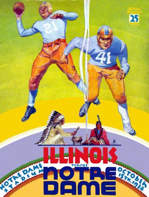 1938 Notre Dame Fighting Irish Vs Illinois Fighting Illini 22 X 30 Canvas Historic Football Poster