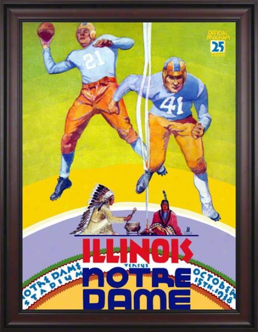 1938 Notre Dame Fighting Irish Vs Illinois Fighting Illini 36 X 48 Framed Canvas Historic Football Poster