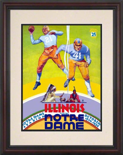 1938 Notre Dame Fighting Irish Vs Illinois Fighting Illini 8.5 X 11 Framed Historic Footabll Poster