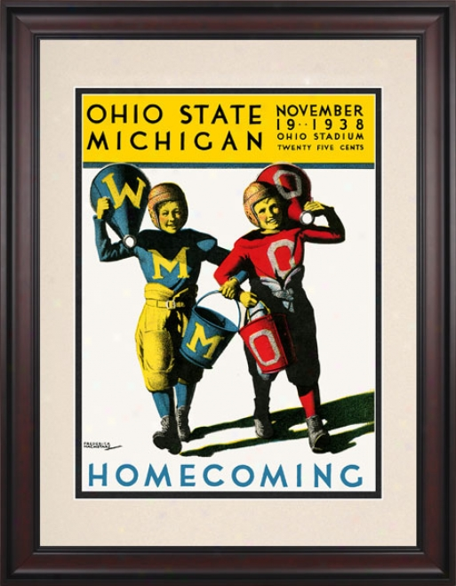 1938 Ohio State Buckeyes Vs. Michigan Wolverines 10.5x14 Framed Historic Fotball Print