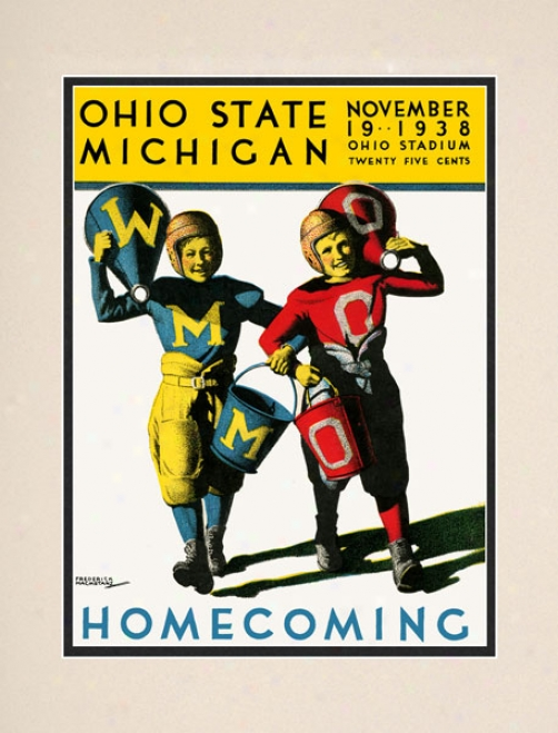 1938 Ohio State Buckeyes Vs. Michigan Wolverines 10.5x14 Matted Historic Football Print