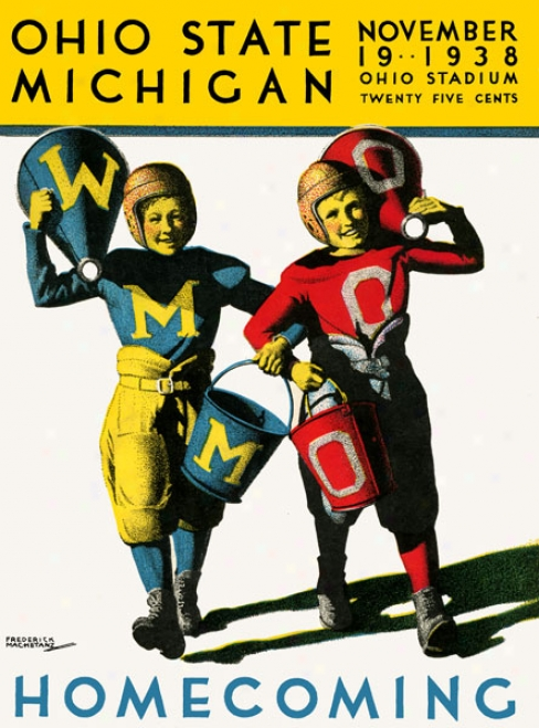 1938 Ohio State Buckeyes Vs. Michigan Wolverines 36 X 48 Canvas Hisgoric Football Print