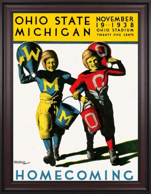 1938 Ohio State Buckeyes Vs. Miichigan Wolverines 36 X 48 Framed Canvas Historic Football Print