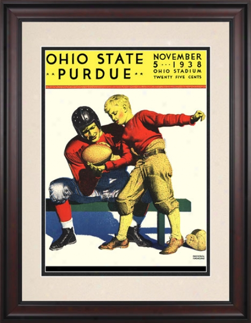 1938 Ohio State Buckeyes Vs. Purdue Boilermakers 10.5x14 Framed Historic Football Print