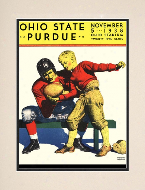 1938 Oho State Buckeyes Vs. Purdue Boilsrrmakers 10.5x14 Matted Historic Football Print