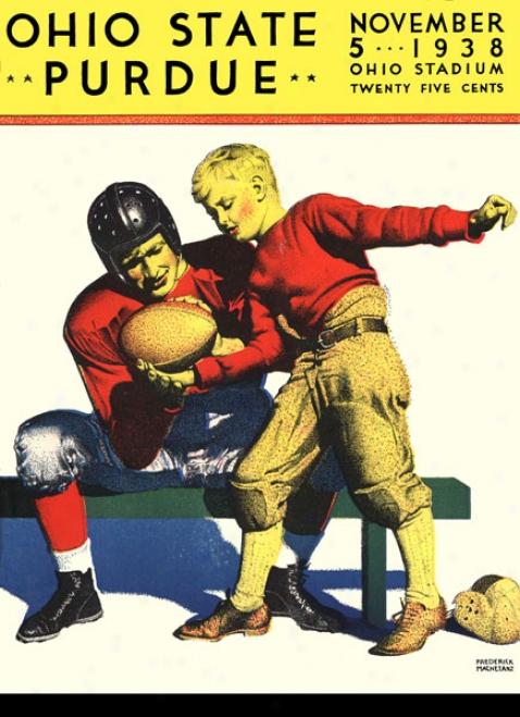 1938 Ohio State Buckeyes Vs. Purdue Boilermakers 22 X 30 Canvas Historic Football Print