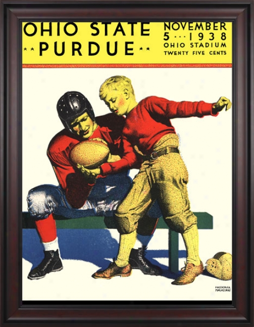 1938 Ohio State Buckeyes Vs. Purdue Boilermakers 36 X 48 Framed Canvas Historic Football Print
