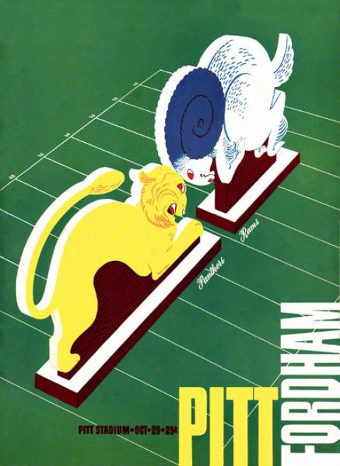 1938 Pitt Vs. Fordham 36 X 48 Canvas Historic Football Print