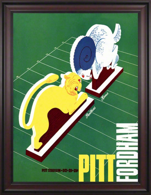 1938 Pitt Vs. Fordham 36 X 48 Framed Canvas Historic Football Print