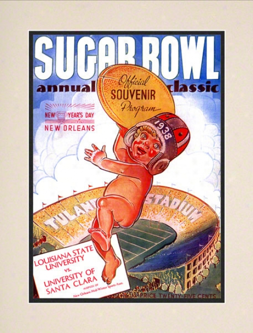 1938 Santa Clara Vs. Lsu 10.5x14 Matted Historic Football Print