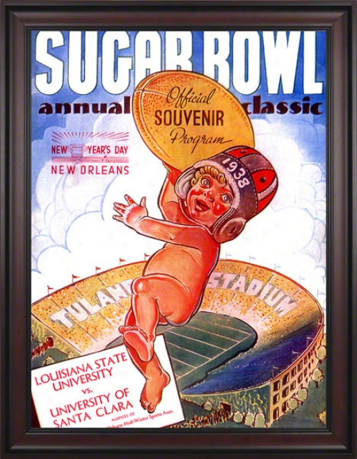 1938 Santa Clara Vs. Lsu 36 X 48 Framed Canvas Historic Football Print