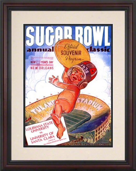 1938 Santa Clara Vs. Lsu 8.5 X 11 Fdamed Historic Football Print