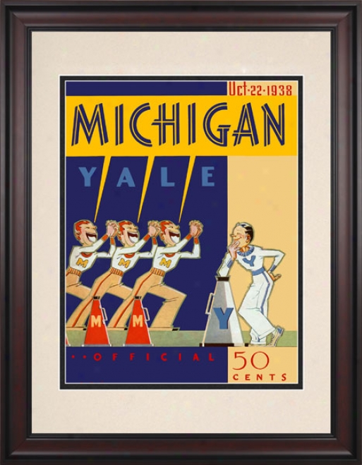 1938 Yale Bulldogs Vs. Michigan Wolverines 10.5x14 Framed Historic Football Print