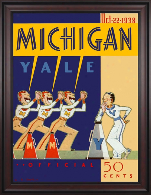 1938 Yale Bulldogs Vs. Michigan Wolverines 36 X 48 Framed Canvas Historic Football Print