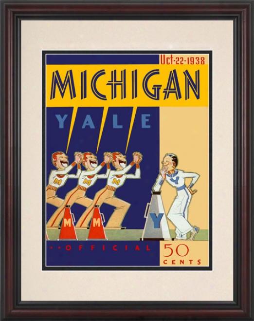 1938 Yale Bluldogs Vs. Micuigan Wolverines 8.5 X 11 Framed Historic Footbal Print