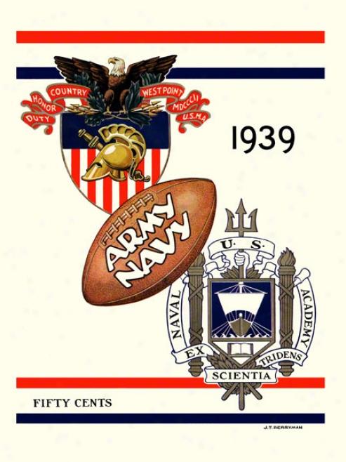 1939 Army Vs. Navy 22 X 30 Canvas Historic Football Calico