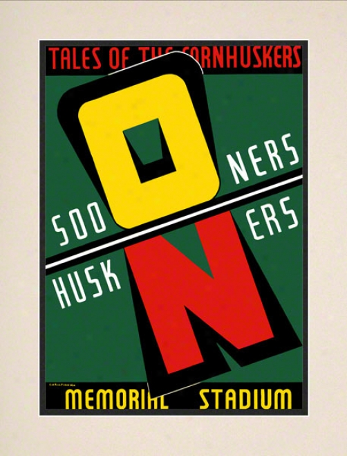 1939 Nebraska Vs Oklahoma 10.5x14 Matted Historic Football Print