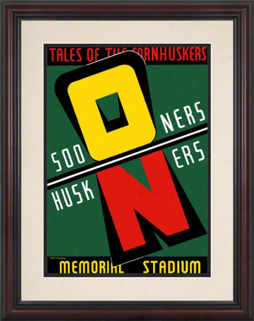 1939 Nebraska Vs Oklahoma 8.5 X 11 Framed Historic Football Print