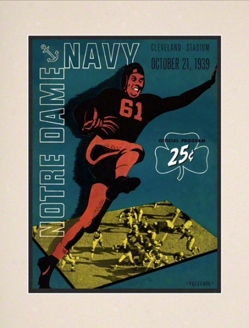 1939 Notre Dame Fighting Irish Vs Ships Midshipmen 10 1/2 X 14 Mattd Historic Football Poster