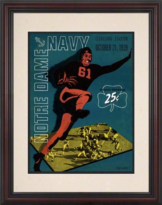 1939 Notre Dame Fighting Irish Vs Navy Midshipmen 8.5 X 11 Framed Historic Football Poster