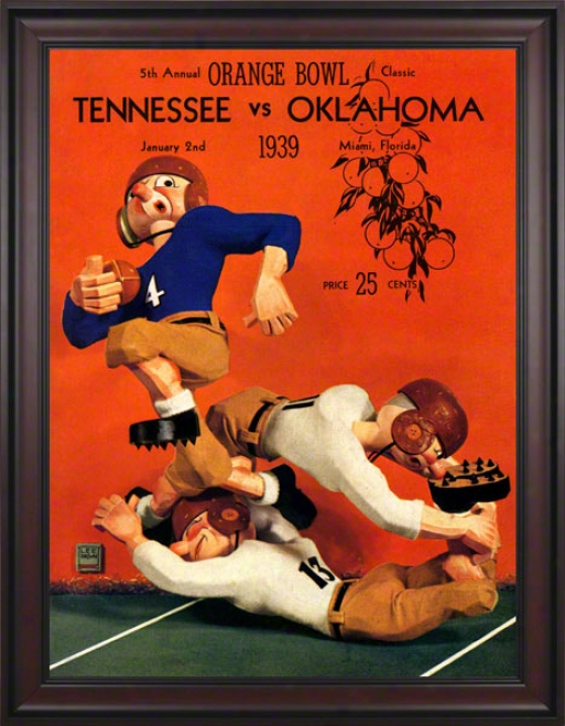 1939 Tennessee Vs Oklahoma 36 X 48 Framed Canvas Historic Football Calico