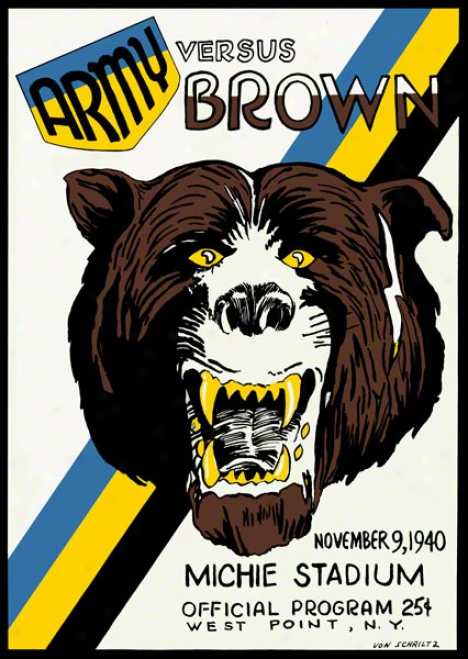 1940 Army Vs. Brown 36 X 48 Canvas Historic Football Print