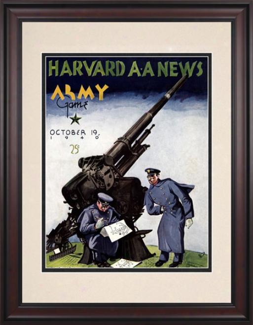 140 Harvard Crimson Vs. Army Black Knights 10.5x14 Framed Historic Football Print