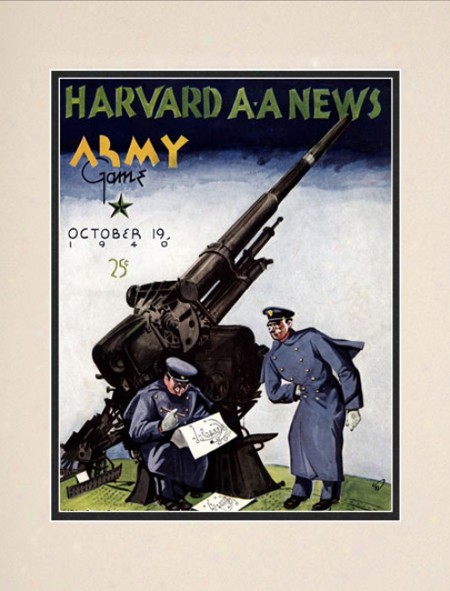 1940 Harvard Crimson Vs. Army Black Knights 10.5x14 Matted Historicc Football Print