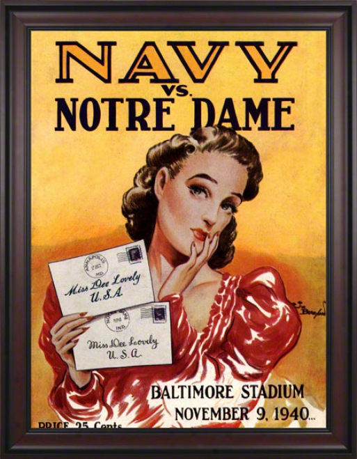 1940 Navy Midshipmen Vs Notre Dame Fighting Irish 36 X 48 Framed Canvas Historic Football Poster