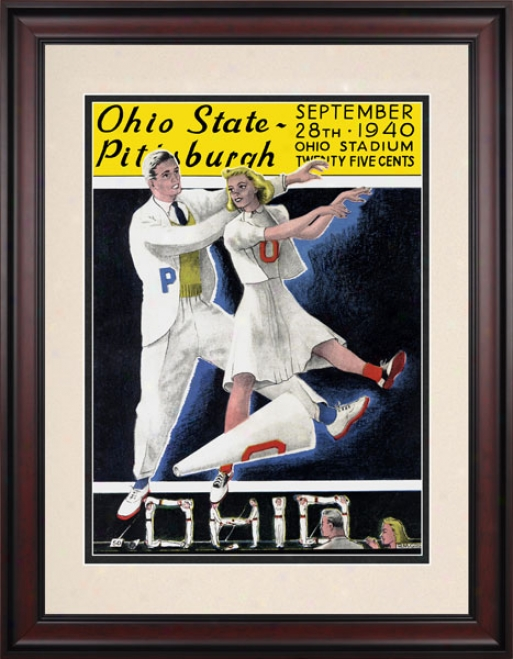 1940 Ohio State Buckeyes Vs. Pittsburgh Panthers 10.5x14 Framed Historic Football Print