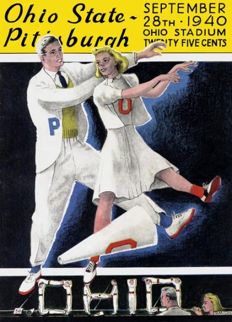 1940 Ohio National Buckeyes Vs. Pittsburgh Panthers 36 X 48 Cancas Historic Football Print