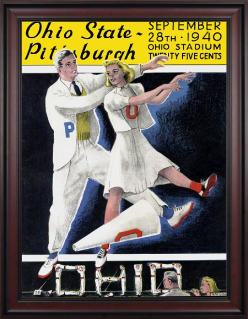1940 Ohio State Buckeyes Vs. Pittsburgh Panthers 36 X 48 Framed Canvas Historic Football Print