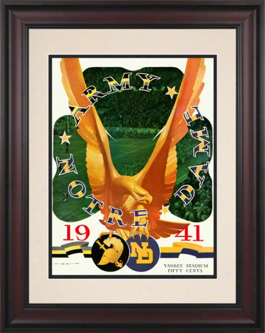 1941 Army Black Knights Vs Notre Dame Fighting Irish 10 1/2 X 14 Framed Historic Football Poster