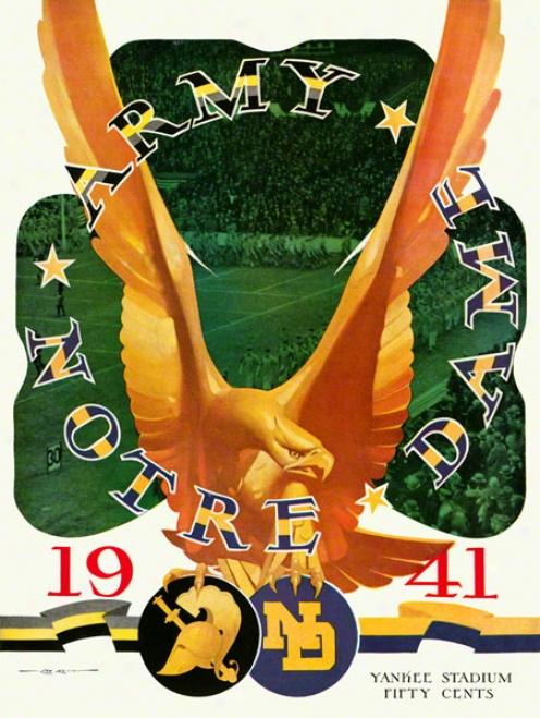 1941 Army Black Knights Vs Notre Dame Fighting Irish 36 X 48 Canvas Historic Football Poster