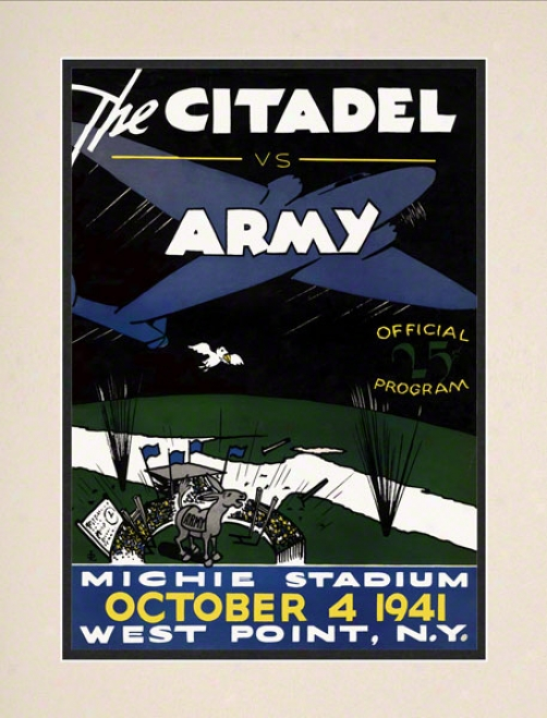 1941 Army Vs. Citadel 10.5x14 Matted Historic Football Print