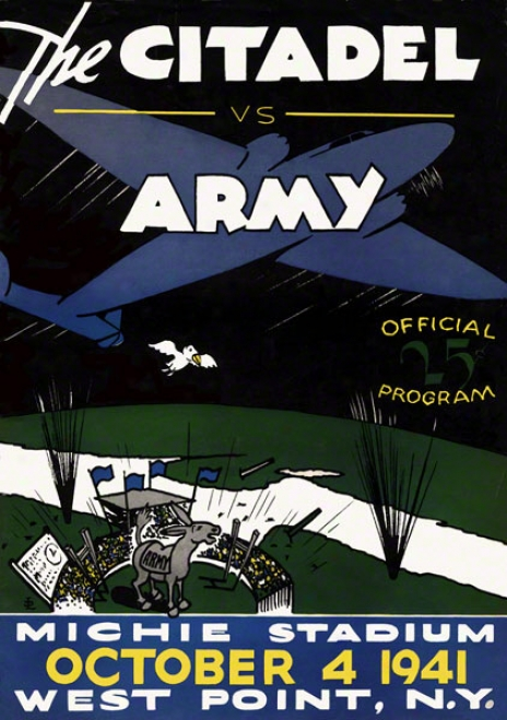 1941 Army Vs. Citadel 22 X 30 Canvas Historic Football Print